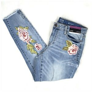 ana Embroidered Destructed Denim Jeans NWT Size 6